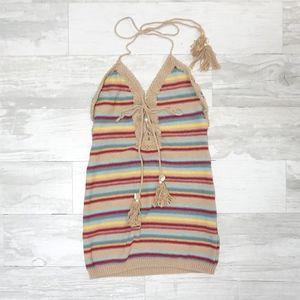 Gab and Kate Bohi Tan Striped Sweater Mini Dress